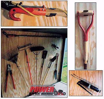 trimmer trap, tool rack, trailer rack
